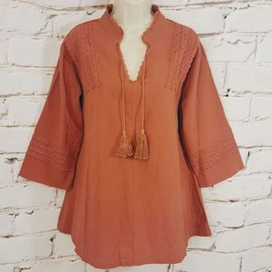 MissLook Rust Embroidered Boho Tunic